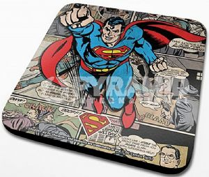 Superman Flying cork backed drinks mat / coaster   (py)